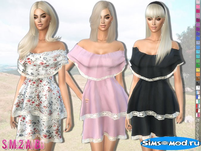 279 - Bare Shoulder Layered Платье для Симс 4