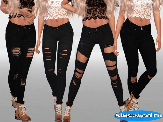 Winter black ripped jeans collection