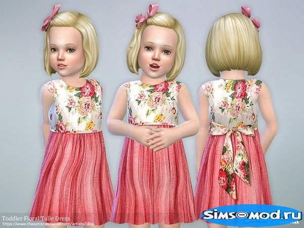 Платье Floral Tulle для Симс 4