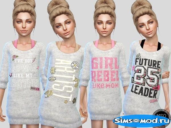 Длинный свитер для девочек 1 для Симс 4