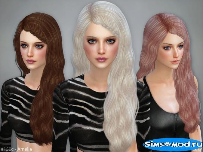 Прическа Amelia для Симс 4