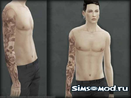 Тату YAM Grill Sleeve Tattoo v1 для симс 4