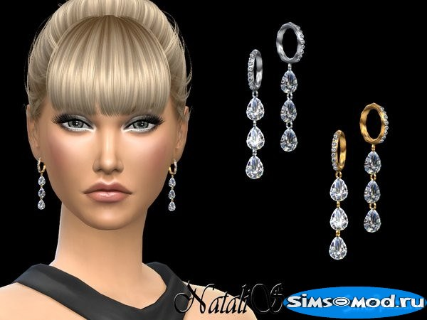 Серьги Pear cut diamond drop для Симс 4