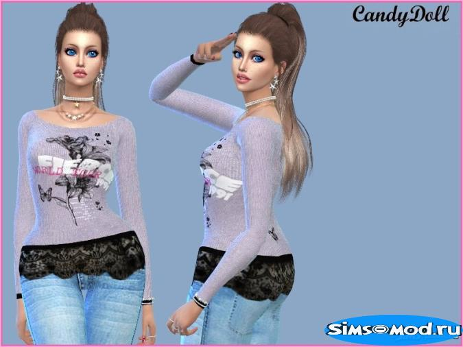 Свитер Fierce Print Lace Hem от CandyDolluk для Симс 4