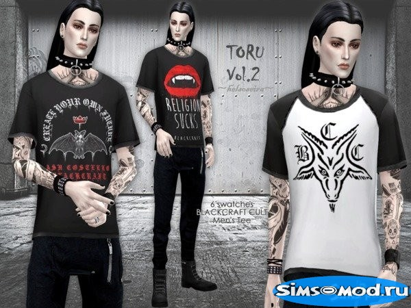 Футболка TORU-Vol2 Loose Tshirt для Симс 4
