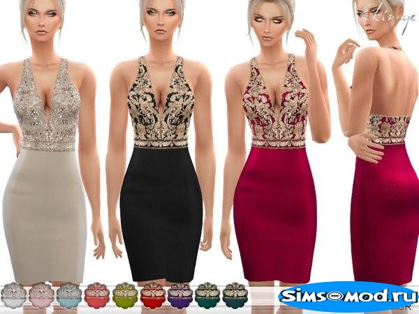 Мини - платье V-Neck Embellished для Симс 4