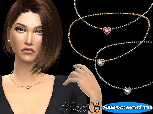 Кулон Heart shape crystal для Симс 4