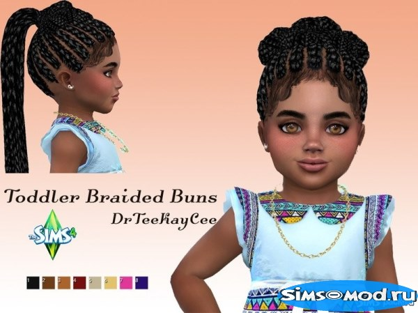 Прическа Braided Buns для Симс 4