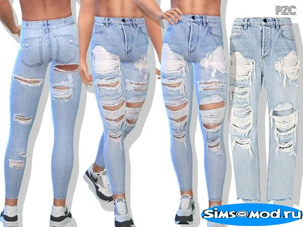 Джинсы Blue Denim Ripped для Симс 4