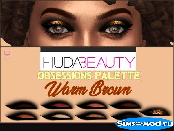Тени для век HudaBeauty Obsessions Warm Brown для Симс 4