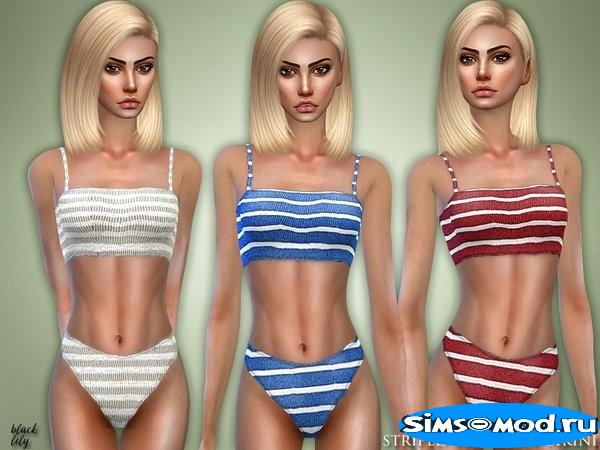 Бикини Striped Two-Piece для Симс 4