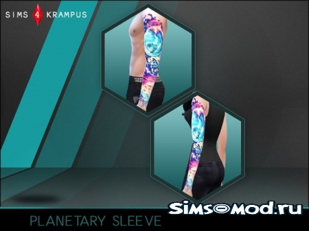 Тату Unisex Planetary Sleeve Tattoo для симс 4